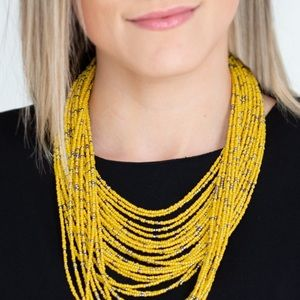 Yellow seed bead and gun metal necklace